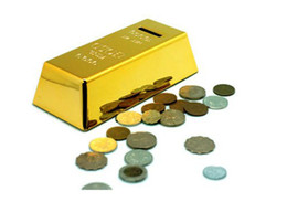 Wholesale Gold Piggy Bank - Gold Bar Coin Bank, 999.9 Fine Gold, Net Wt 1000G Decoration On Top of Bar, Novelty Gold Brick Piggy Bank