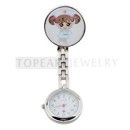 Wholesale Nursing Fob Watches - 2pcs LOT Cute Girl Clip Nurse Fob Watch LPW619