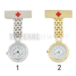 Wholesale Medical Pins - LPW622 Teboer Jewelry 2pcs Quartz Pin Brooch Red Cross Medical Nurse Watch