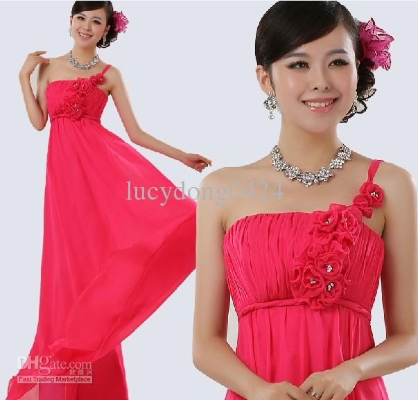 Barato Elegante um ombro chiffon varrer assoalho plissado beadings vestidos de dama de honra / vestidos de festa de casamento