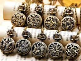 Wholesale Antique Models - 30PCS 9 model HOT lady Quartz Pocket Watch 27MM Unisex Gorgeous Stamped Charm Pendant Necklace Wristwatch Women's pocket Watches