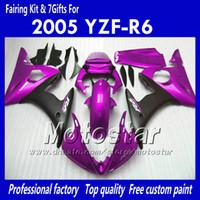 yamaha yzf r6 gewohnheit großhandel-7 Geschenke Custom Body Work Verkleidungen für YAMAHA 2005 YZF-R6 05 YZFR6 05 YZF R6 YZF600 glänzend dunkelviolett schwarz ABS Verkleidung OO77