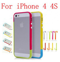 iphone 4s cilt durumda toptan satış-FreeShip 20 adet = 10 Takım Mix-and-Match 2 Renkler üst ve alt kapak Tampon Case Cilt Kapak Çerçeve TPU Kılıf iphone 4 4G 4 S Perakende Paketi