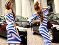 Wholesale Dinner Women Dresses - 2017 New Sexy womens Off shouler fashion Summer Casual Vestidos Cocktail party Dinner Striped dress 1000