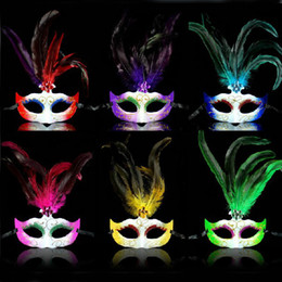 Wholesale Feather Carnival Costumes - 6 Colors Crazy Party Masks Bright Carnival Costumes Masks Mardi Gras Masks for Ladies 10PCS LOT LP063