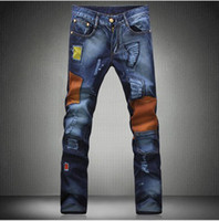 Wholesale New Mix Skinny Jeans - Free Shipping New Men's Vintage Distressed Brand Denim Jeans,Fashion Patchwork Tight Skinny Jeans s 29-36