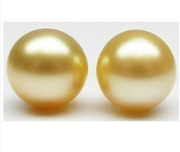 Wholesale Huge Studs - huge 2 STARS OF PERFECT ROUND AAA+ 11-12MM SOUTH SEA yellow LOOSE PEARl