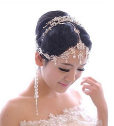 Wholesale Hair Tassel - elegant Style Wedding Bridal Jewelry crystal bead headpiece long tassel floral headdress hair accessories headband jt019