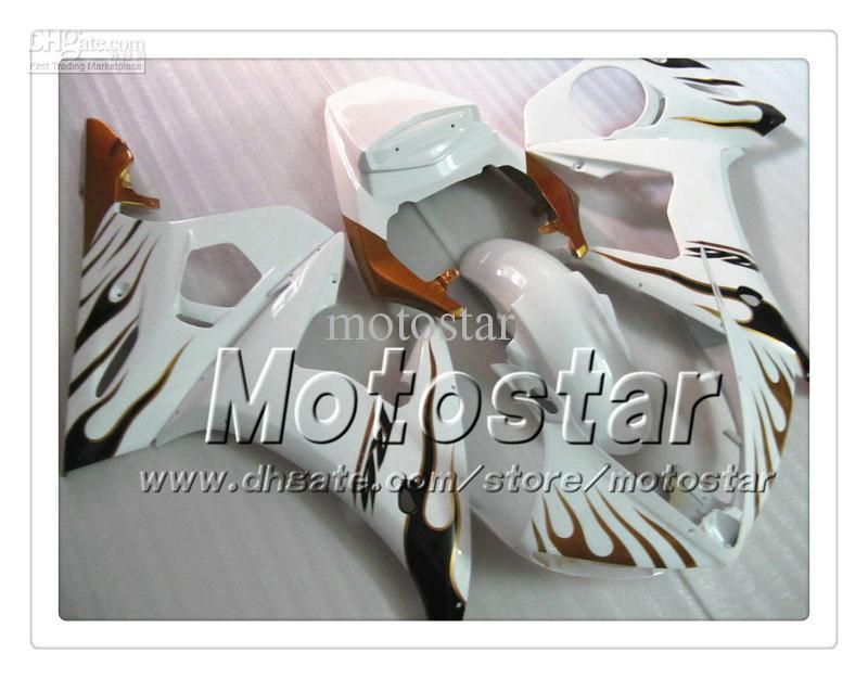 7 Geschenken Custom Body Work Backings voor Yamaha 2005 YZF-R6 05 YZFR6 05 YZF R6 YZF600 Bruin Vlam in White ABS Fairing PP7
