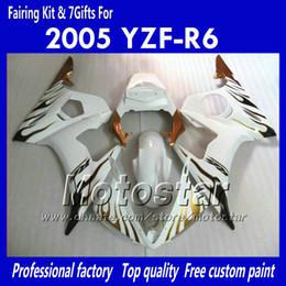 R6 Abs NZ - 7 Gifts custom body work fairings for YAMAHA 2005 YZF-R6 05 YZFR6 05 YZF R6 YZF600 brown flame in white ABS Fairing PP7