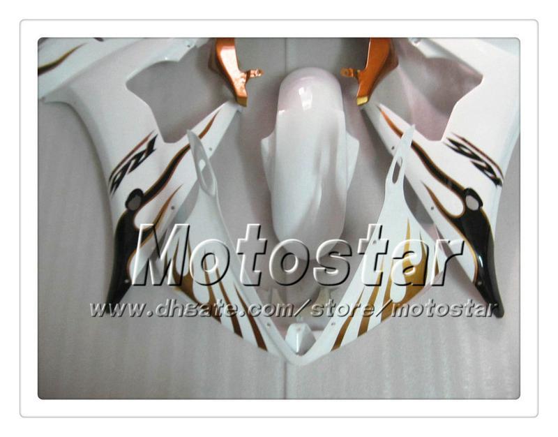 7 carénages de travail de corps sur mesure pour YAMAHA 2005 YZF-R6 05 YZFR6 05 YZF R6 YZF600 flamme brune dans le carénage en ABS blanc PP7