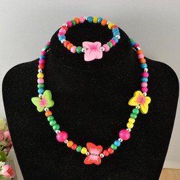 Wholesale Candy Jewelry For Kids - Children's candy color wood jewelry set wood butterfly necklace bracelet jewelry sets for baby kids' handmade jewelry set