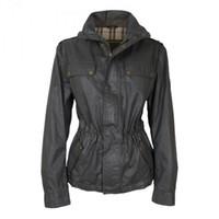 jaqueta para mulheres venda por atacado-Designer de mulheres jaqueta de cera gola de alfaiataria 2 bolso inclinado Corpo solto cintura fina tecido à prova d 'água frete grátis