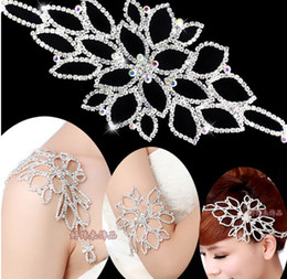 Wholesale Party Garter - crystal Rhinestone bridal Hairband headpiece headband also can use as garter belt armband Prom Party wedding dress bra strap Ja001