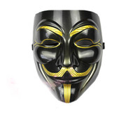 negro anónimo al por mayor-10pcs / lot News Environmental PVC Máscaras negras V para Vendetta Bauta para las máscaras de Halloween icónicas de Anonymous MA29