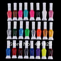 Wholesale Nail Art Striper Polish - 24pcs lot 24 Colors 2-Way Nail Art Glitter Makeup Polish Nail Art Striper Pen +Varnish Brush Set