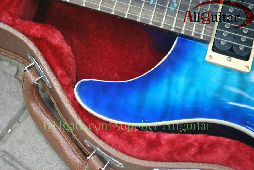 Explosão azul Personalizado 24 aves inlay fret board Guitarra Elétrica