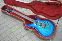 Wholesale Electric Guitar Bird Inlay - Blue burst Custom 24 birds inlay fret board Electric Guitar