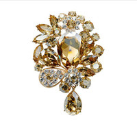 "Wholesale Diamante Accessories - 3"" Gold Plated Large Champagne Crystal Rhinestone Diamante Luxury Wedding Bridal Drop Brooch Women Jewelry Accessory"