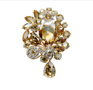 "3"" Gold Plated Large Champagne Crystal Rhinestone Diamante Luxury Wedding Bridal Drop Brooch Women Jewelry Accessory on Sale"