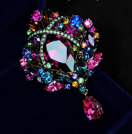 Pin spilla da sposa in cristallo placcato oro con strass da 7,5 pollici a goccia