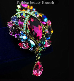 Wholesale Glass Tear Drops - Silver Plated 3.5 Inch Tear Drop Muticolor Rhinestone Crystal Wedding Bridal Brooch Pin
