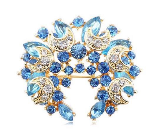 Prateado Roxo e Lilás Estrela de Cristal e Lua Wrealth Broche pin