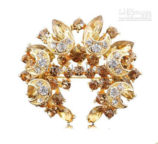 Grande banhado a ouro luz marrom strass estrela de cristal e lua grinalda pin broche