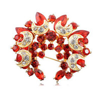 Wholesale red star pin resale online - 2 inch Gold Plated Red Rhinestone Crystal Diamante Star and Moon Wrealth Brooch pin