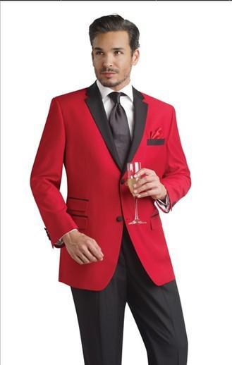 Red Jacket And Black Pants Groom Tuxedos Groomsmen Men's Wedding ...