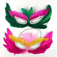 maskeli parti dekorasyonları satılık toptan satış-Mluti Renk Çocuk Tüy Maske Masquerade çocuk Günü Hediyesi Satılık Sanat Sanat Maske Parti Dekorasyon MA22
