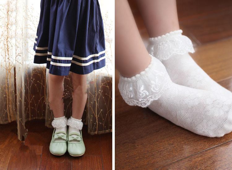 2013 Calze Gril's Socks in pizzo bianco Abbigliamento bambini