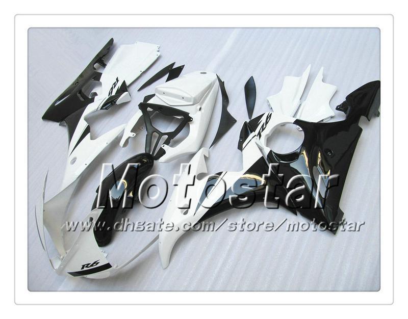 7 regali carenature personalizzate YAMAHA 2005 YZF-R6 05 YZFR6 05 YZF R6 YZF600 bianco lucido nero ABS Carenatura PP15