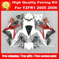 yamaha yzf r1 plásticos al por mayor-Gratis 7 regalos ABS kits de carenado de plástico para YAMAHA YZFR1 2004 2005 2006 YZF R1 04 05 06 YZF1000R carenados G3m rojo blanco motocicleta carrocería