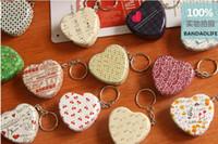 Wholesale Metal Heart Shaped Jewelry Box - 12pcs lot keychain mini box metal case heart shape Tin Box Metal Pill case Jewelry Case Candy storage Box
