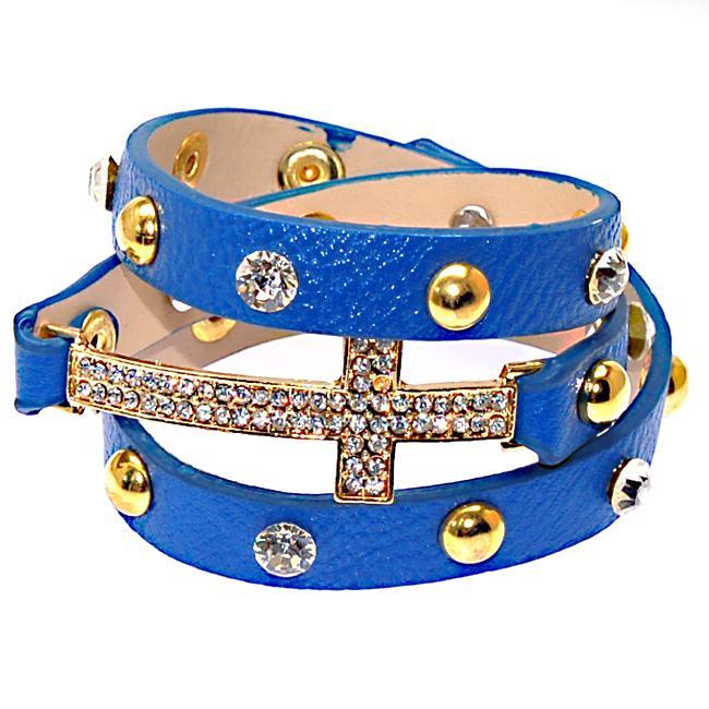 Nieuwste Double Lederen Wrap Crystal Charm Armbanden met Micro Pave CZ Disco Cross Charm Wrapped Armband
