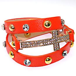 Wholesale Double Strand Set - Newest Orange Color Double Wrap Crystal Cross Charm Bracelets With Micro Pave CZ Disco Cross Charm