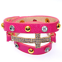 Wholesale cross strands bracelet for sale - Group buy Doubl Leather Wrap Charm Bracelet Fuchsia New Wrap Crystal Bracelets Micro Pave CZ Disco Cross Charm For Women Gifts