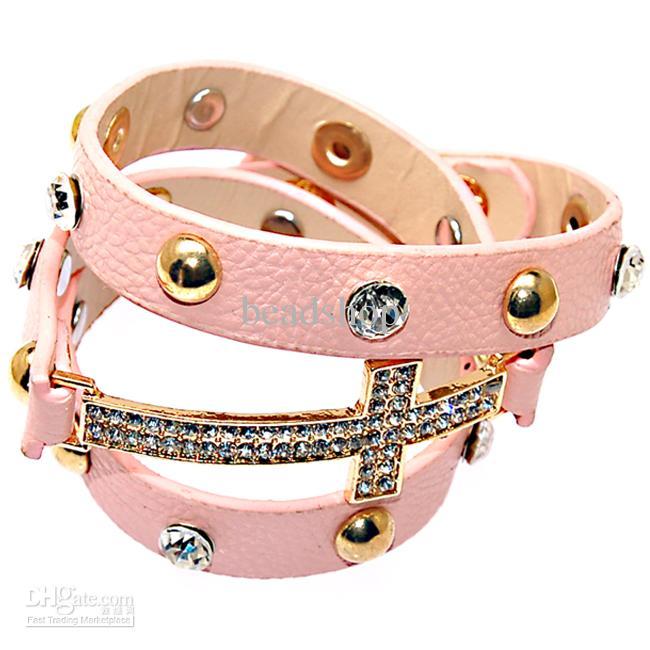 Dubbele lederen wrap armband roze kleur Nieuwe wrap Crystal Armbanden Micro Pave CZ Disco Cross bedelarmbanden
