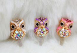 Wholesale Owl Earphone Jack - Diamond owl Style Ear Cap 3.5mm Plug Anti-dust