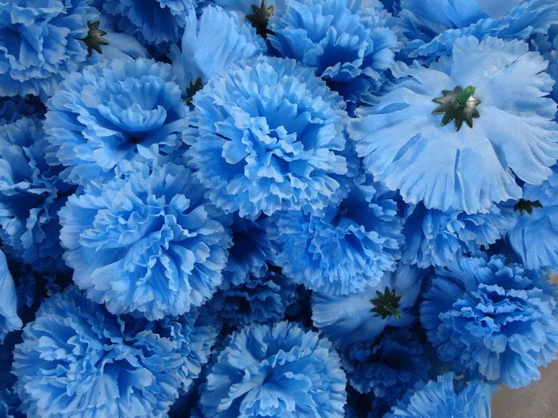 Nieuwe arrivivals kleur ontwerp 50 stks diameter 9cm kunstmatige zijden anjer stof bloemhoofden
