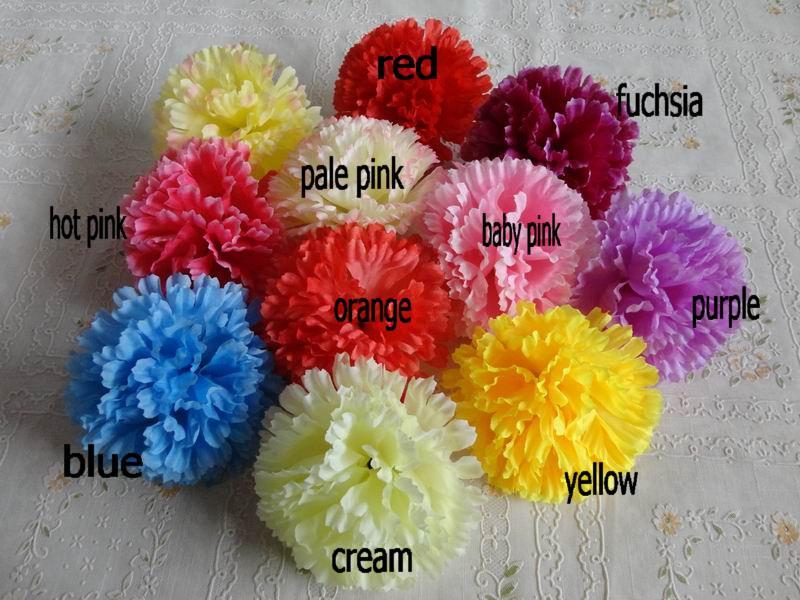 100 stks / partij 9 cm bloemhoofden kunstmatige anjer bloem hoofd stof zijde anjer bloem hoofden 9 kleuren