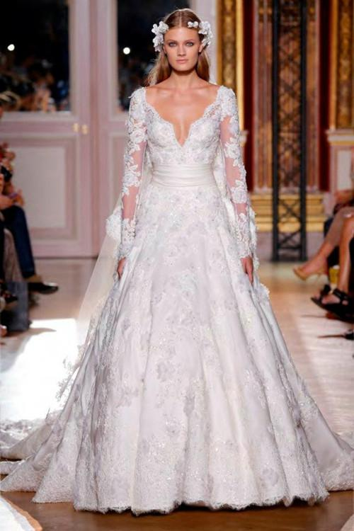 Discount Wholesale Price 2017 Zuhair Murad Sexy Wedding Dresses Long Sleeve Waistband Lace Bridal Gowns Cheap Gown Designer