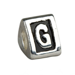 Wholesale Cheap Large Holed Beads - Cheap 20pcs Alphabet Letter G Trigonal Spacer large hole European Beads For Charms Bracelet ,DIY Silver Plated Jewelry Accessories