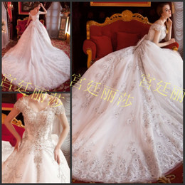 Wholesale Swarovski Cathedral Dress - 2015 New Arrival Charming A-line Wedding Dresses Vintage Cap Sleeves Swarovski Rhinestone Beaded Cathedral Train Bridal Wedding Gowns OG-653