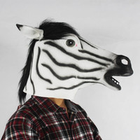visage zébré achat en gros de-Cute Zebra Head Latex Mask Halloween Realistic Horse Rubber Masks Soft Horsehair Masquerade Full Face Animal Party Costume Props 5pcs / lot
