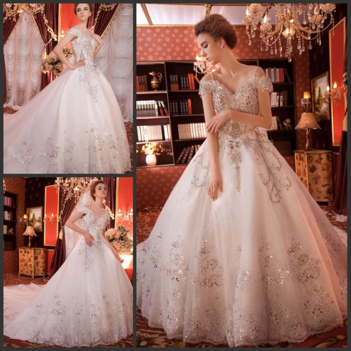 Off Shoulder Luxury Wedding Gowns Lace Up Back With Royal Beaded ...