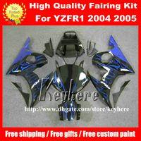Wholesale R6 Custom Plastic - Free 7 gifts Custom plastic fairing kit for YAMAHA YZFR6 2005 YZF R6 05 YZF-R6 YZF600R fairings G2m blue flames black motorcycle body work