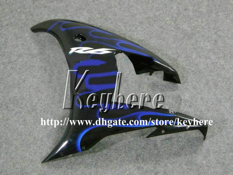 7 regali Kit carenature in plastica personalizzate YAMAHA YZFR6 2005 YZF R6 05 YZF-R6 YZF600R carene G2m blu fiamme moto nero corpo lavoro