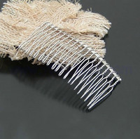 Wholesale Veil Crafts - 100pcs lot 20 tooth Twist Wire metal Silver Hair Comb Wedding Bridal Accessory Veil Crafts DIY jt034